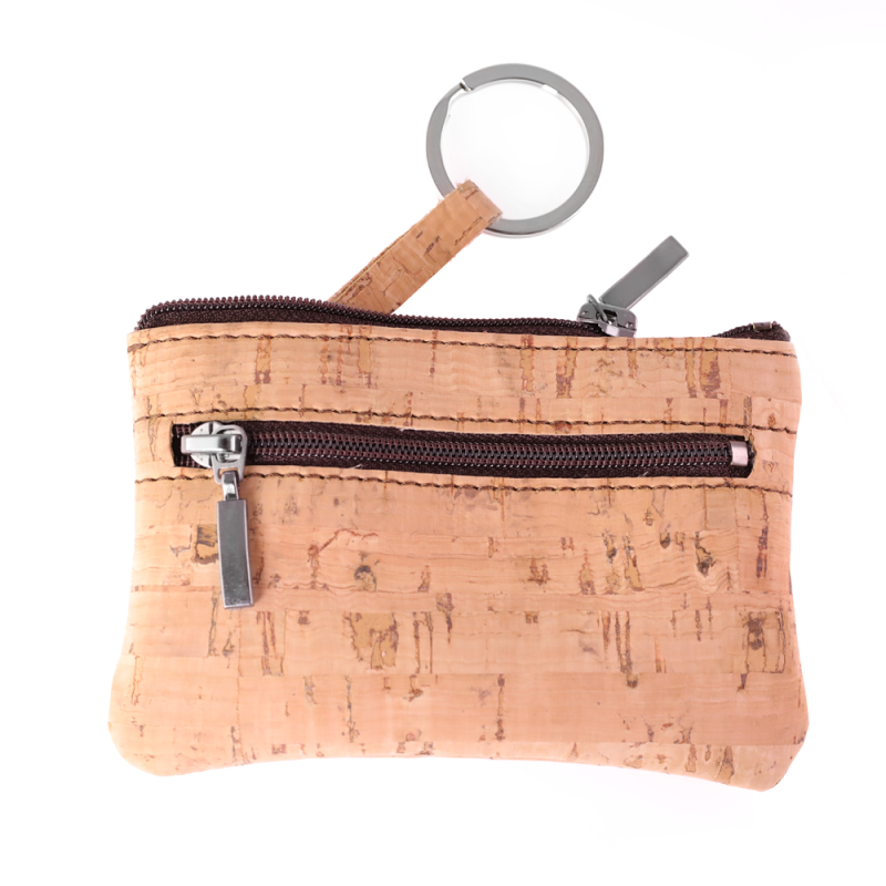 Double Pocket Beige Wallet with key ring